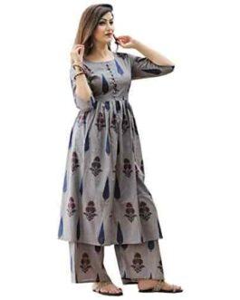ANNIE Fashions Women's Cotton Printed Kurti Palazzo Set