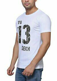 White Printed Cotton Round Neck Tees