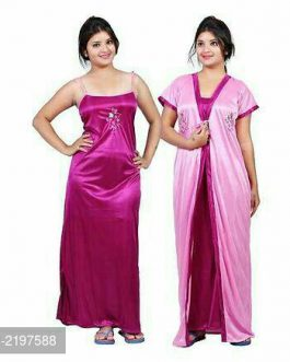 Two Piece Satin Nighty With Robe