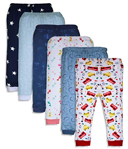 Minicult Cotton Baby Pajama Pants Unisex with Rib (Pack of 6)