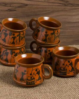 Hand-Painted Ceramic Coffee Mugs Cum Tea Cups (Set of 6)