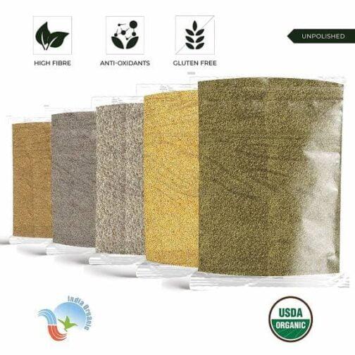 Unpolished and Natural Siridhanya Millet Combo Pack of 5